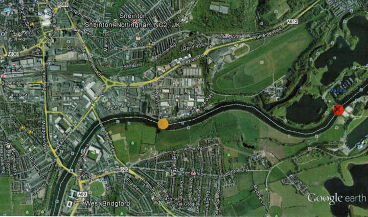 (Click for detailed view.)Yellow dot shows the proposed site between Trent Lane and The Hook open space on the Lady Bay, West Bridgford side.Red dot shows the site first proposed in 1998 by the City Council (as part of their Emerald Necklace project) directly connecting Colwick Park with the Water Sports Centre, Holme Pierrepont. This was dropped after opposition from Nottingham Sailing Club.
