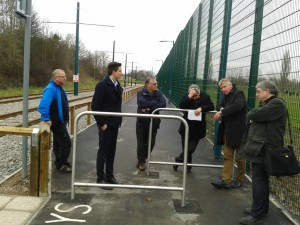 Taken at an extended site meeting on 26 Feb with Tramlink and their contractors (TWA) to discuss hazardous spots and other cycling issues on both new NET routes. Also at the meeting were Adam Gibbs of BWB Consulting who is doing a Non-Motorised User audit of the new tram routes, Gary Smerdon-White and Martin Budjoso from Ridewise, Hugh McClintock and Peter Briggs from Pedals, and Richard Hand from the City Council NET Project Team.