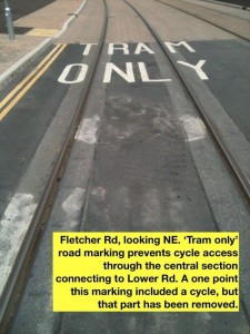 CT10LwrRdFletcherRdGarethGee08 Fletcher Rd TRAM ONLY markings