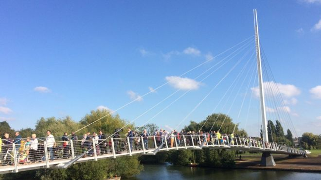 Reading Foot Cycle Bridge Opening BBC News300915no1