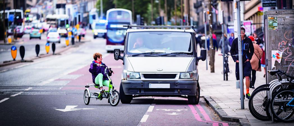 Advisory Cycle Lane WIth Parked Van